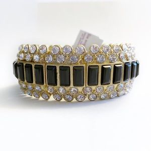 NEW Lia Sophia Black and Gold Stretch Bracelet